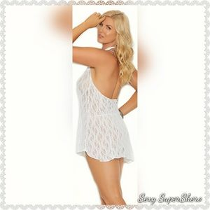🆕👰Lacey Sexy Halter Mini dress lingerie White